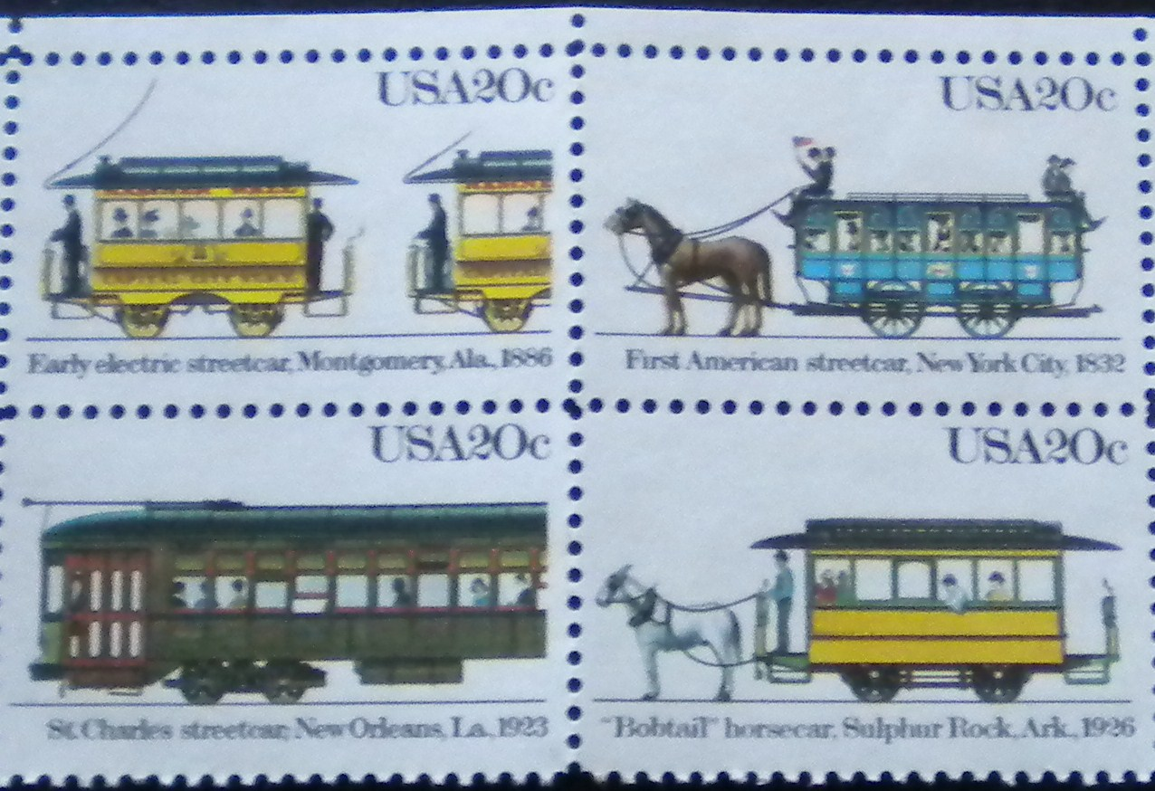 Street Car US Postage Stamps